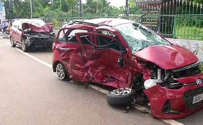a car damaged in a road accident