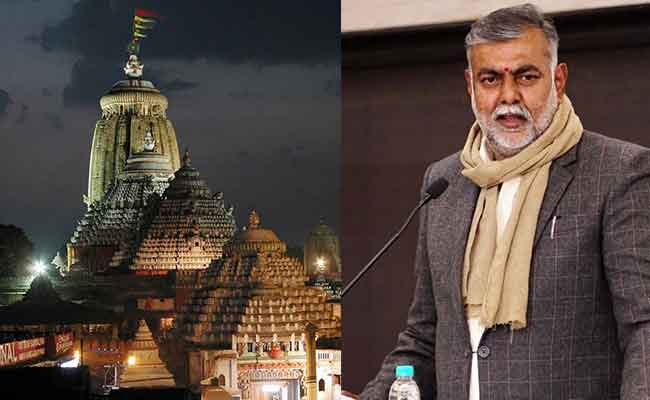 image of Puri jagannath Temple and central Minister