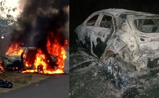 Car catch fire at deogarh