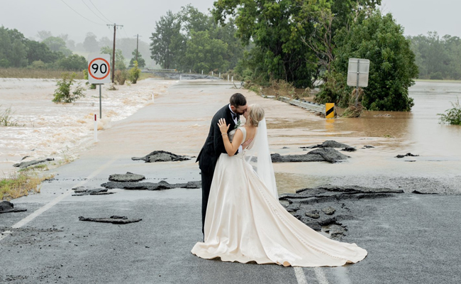 Couple tied knot amidst floods
