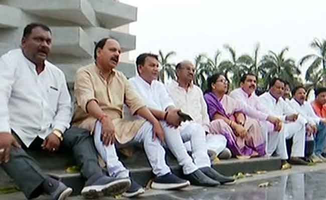BJP MLAs Sitting On Protest