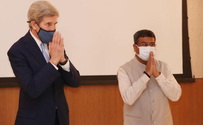 US Special Presidential Envoy for Climate John Kerry and Union Minister Dharmendra Pradhan