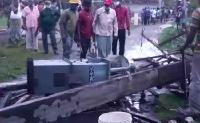 electric pole uprooted in cyclone