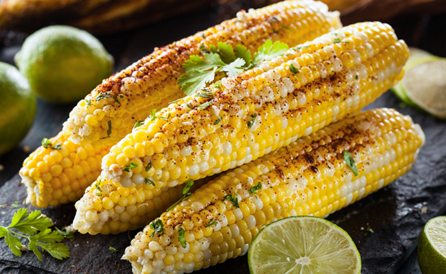 corn served with lemon and chilli